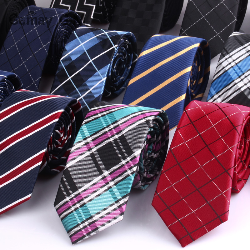 6cm Width Mens Ties New Fashion Plaid Neckties Corbatas Gravata Jacquard Woven Slim Tie Business Wedding Stripe Neck Tie For Men