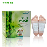 Povihome 50pcs/Box Kinoki Detox Foot Pad Patch Body Massager Bamboo Herbal Plaster Stress Relief Help Sleep Health Care K02401