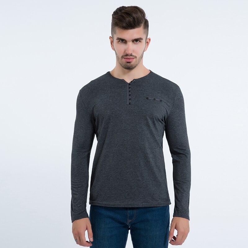 Liseaven 2017 Fashion Mens Slim Fit Long Sleeve T Shirts Stylish Luxury Men V Neck Cotton