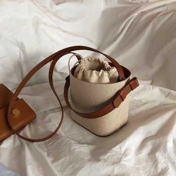Bolso tipo Bombonera de paja INS Fashion, bolso de playa tejido, bandolera de hombro versión coreana, bolso cruzado portátil