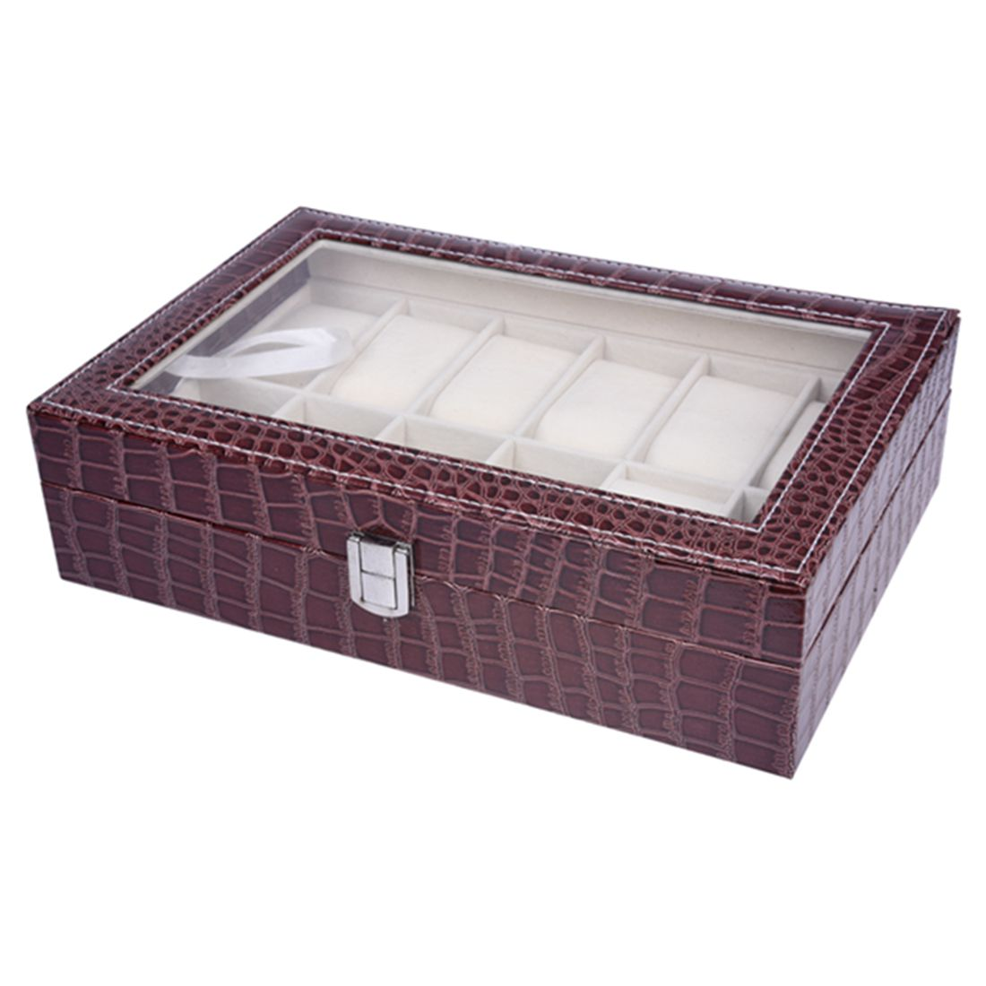 Faux Leather Watch Case Storage Display Box Organiser Jewelry Glass Top Crocodile Brown, 3SIZE