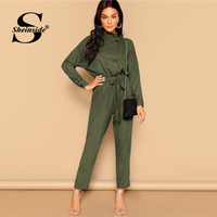 Sheinside Army Green Drop Shoulder Button Detail Jumpsuit Women 2019 Spring Mid Waist Belted Jumpsuits Casual Tapered Jumpsuit