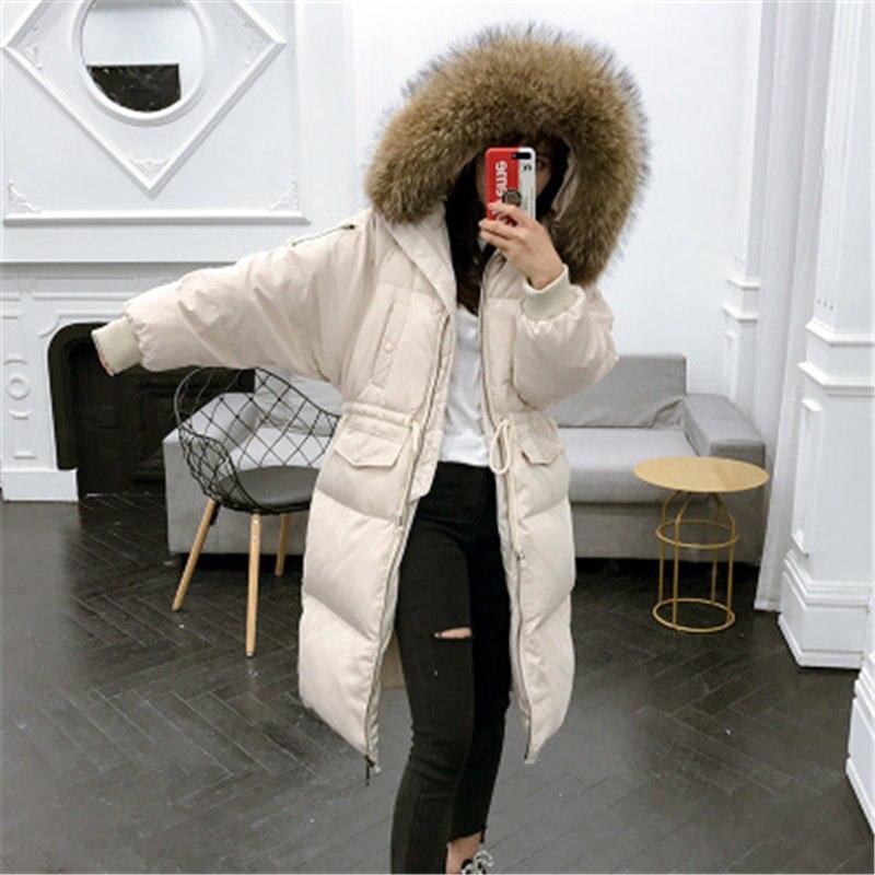 2019 nouveauté lâche Style haute qualité hiver canard vers le bas Long femmes manteaux chaud épais russie Outwear grand réel fourrure de raton laveur capuche