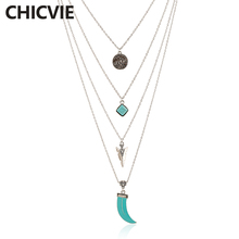 CHICVIE Silver Color Pendant Necklace Multi Layer Body choker Vintage Accessories Trending Jewelry Statement Necklace SNE160042