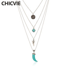 Chicvie ожерелье серебряного цвета с подвеской многослойное