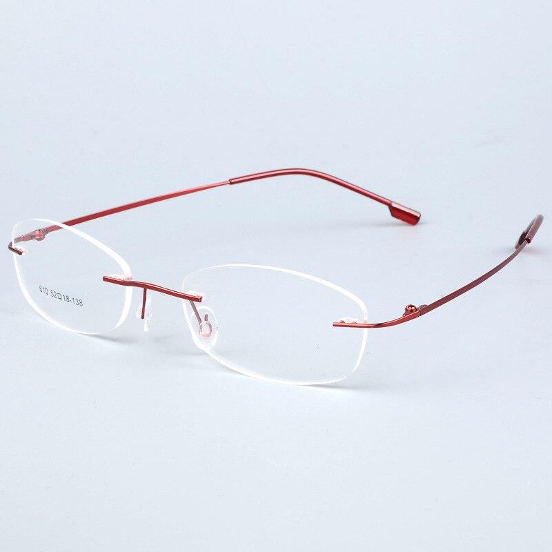 Women Lightweight Rimless Glasses Frames Memory Titanium Eyeglasses Frame Spectacle Prescription Optical Myopia Reading
