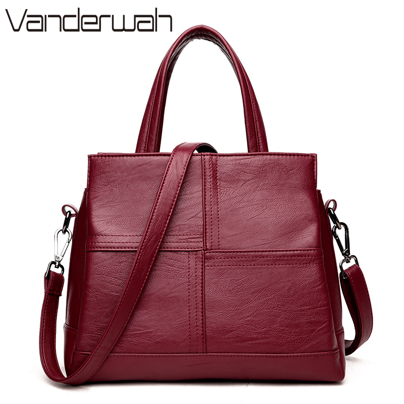 VANDERWAH Leather luxury handbags women bags designer casual large capacity big shoulder crossbody bags for women tote bag sac vanderwah crocodile pattern leather luxury handbags women bags designer women shoulder bag female crossbody messenger bag sac