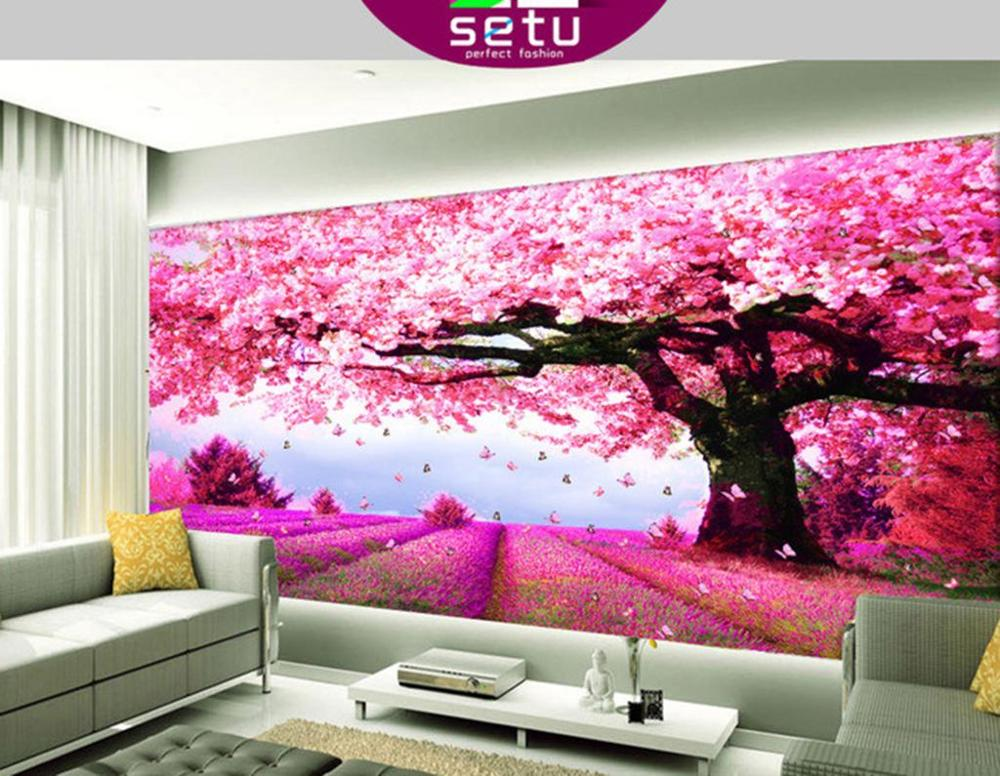 japanese background mural living bedroom tree cherry backgrounds wall shipping