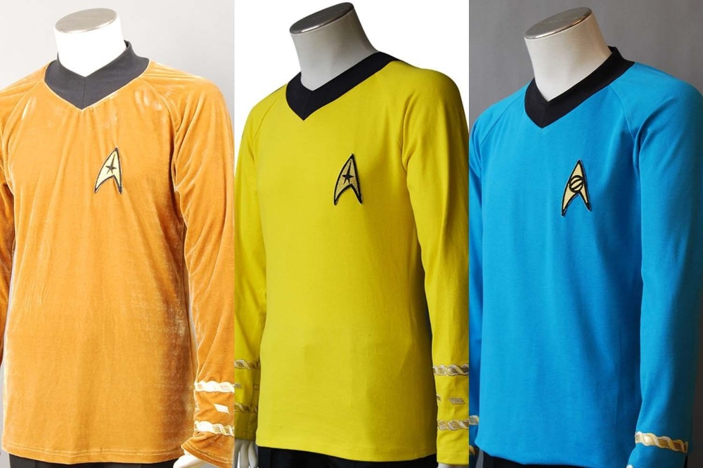 Star Trek TOS Captain Kirk Spock Cosplay Costume Blue Gold Yellow T Shirt Outfit Uniform XS-XXXL