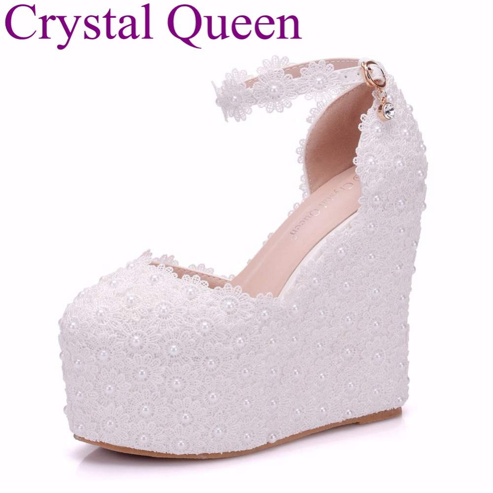 Crystal Queen 13CM Platform Wedges Pumps High Heels Shoes Women White Lace Wedding Heels Round Toe