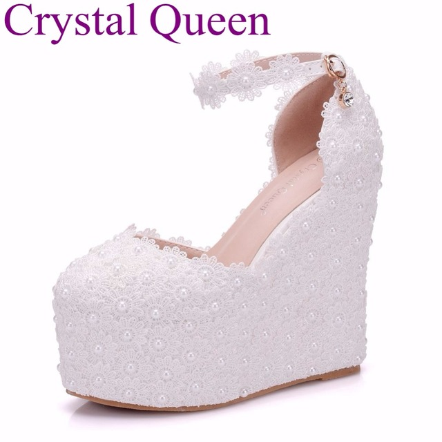 Crystal Queen 13CM Platform Wedges Pumps High Heels Shoes Women White Lace  Wedding Heels Round Toe Platform Shoes High Wedges 4ebd840f23f3