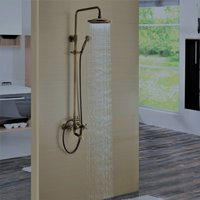 Antique Brass Bathroom Shower System Set Bath Shower Faucet with 8 Inch Round Fixed Shower Head and Handheld Showerhead