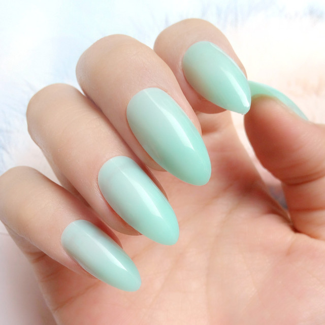 Candy Light Green False Nails Short Stiletto Tips Pointed Fake Full Cover DIY Manicure