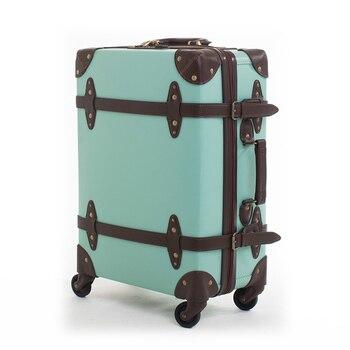 b536c5dcbd0db Letrend Moda nostaljik bavul Tekerlekler Deri Haddeleme Bagaj Spinner  Kadınlar Retro Arabası Kabin Çantası Erkekler Seyahat Çantası Üzerinde  Taşımak Bagaj