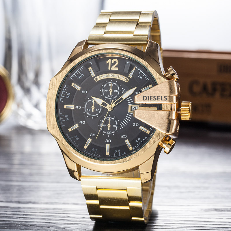 Gold Watch For Man Big Dial Mega Chief Chronograph Stainless Sports Watch Fashion Dress Watches Casual Quartz Watch DZ diesels