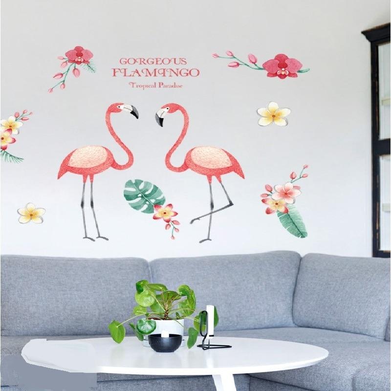 2018 Новое поступление декоративные настенные наклейки расписанную Фламинго любовь Съемный Декор ванной комнаты Наклейка панно DIY искусства... ...