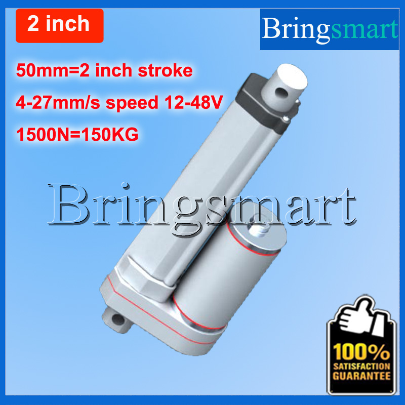 цена на Bringsmart 2 Inch 50mm Linear Actuator 1500N Heavy Duty tubular motor 12-48V DC Motor 4-27mm/s 24V Waterproof