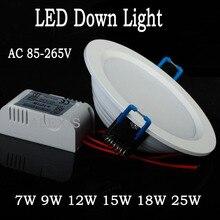 цена на 1pcs/lot Fashion 2014 7W/9W/12W/15W/18W/24W led ceiling light cool white/warm white AC110V 220V panel light Free shipping