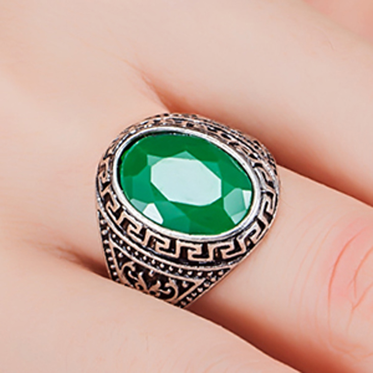 Fashion Green Resin Vintage Rings For Personality Womens couple Jewelry Antique Silver color Men Ring Mens Aneis