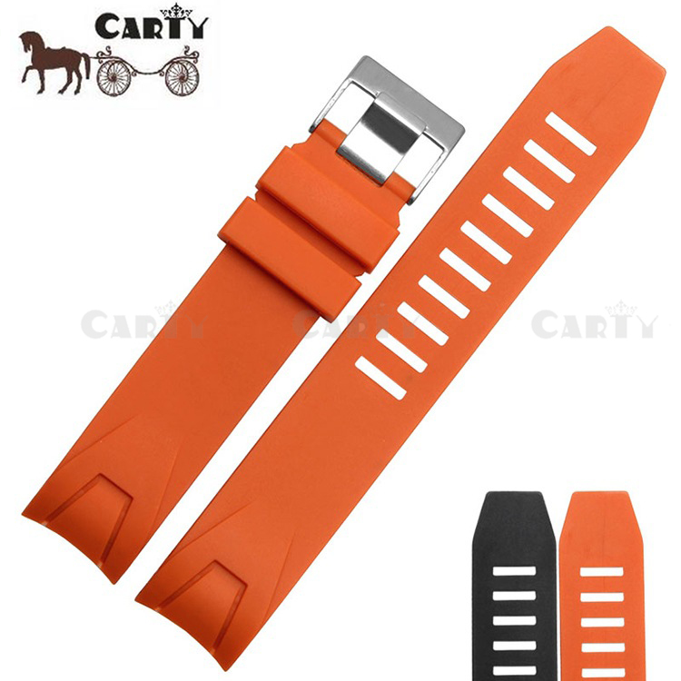 Carty 20mm 22mm Orange Black Silicone Rubber Diver Waterproof Watchband Watch Strap for Men's Sport Watch