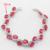 Rodada Encantos Cor Prata Natal & Halloween Mulheres Imitado Conjuntos de Jóias Vermelho Rubi Colar de Pingente Brincos Anéis Pulseira