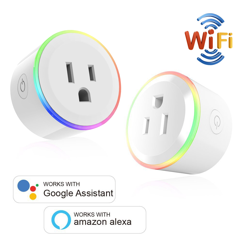 Image 2 - WiFi Switch Mini Socket Plug Wireless Remote Control Outlet with Timer,Dimmer LED Light, Smart Home Compatible with Alexa GoogleSmart Power Socket Plug   -