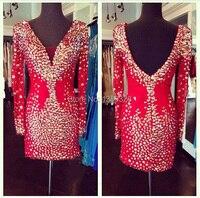 גבישי נדן סקסי צווארון V שרוול ארוך קוקטייל קצר אדום שמלת שמלת 2018 אירוע מיוחד