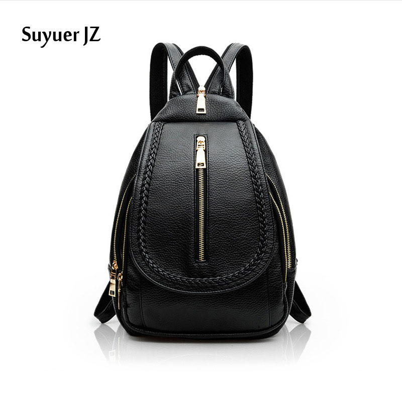 Suyuer JZ 2017 Women Fashion Backpack Casual Travel Bags Ladies Girls School Bags PU Leather Daily