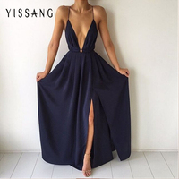 New Arrival Split Maxi Dress Dark Blue Solid Sexy Deep V Neck Evening Party Elegant Clubwear