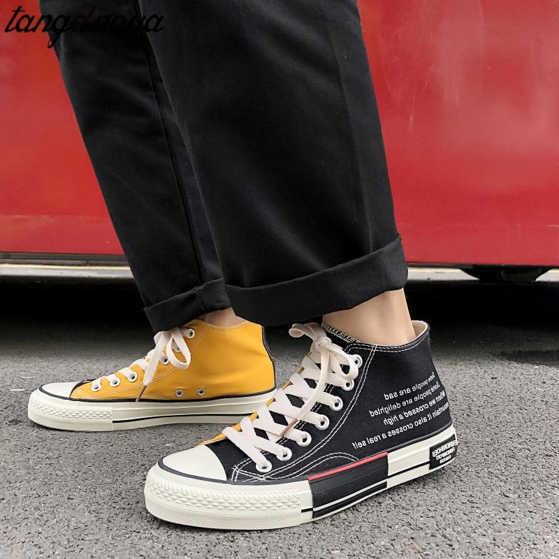 Zapatos informales para mujer, zapatillas altas de lona, zapatillas de deporte para mujer, zapatos vulcanizados para mujer, 43 zapatillas para mujer, plataforma 2020