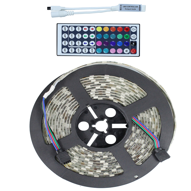5050 RGB LED Strip Light IP65 Waterproof DC12V 5 meters 60led/m LED Flexible Light Strip with 44Keys remote controller