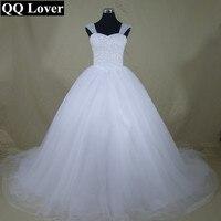 QQ Lover 2017 New Bling Bling Shining Crystals Spaghetti Straps Ball Gown Wedding Dress Custom Made