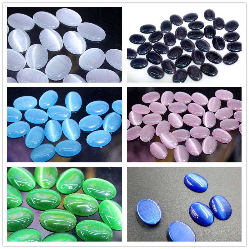 MRHUANG 50pcs/pack New Arrival 18*25mm Flatback Oval Cat Eye Cabochon Opal Beads for Jewelry making smil кофты