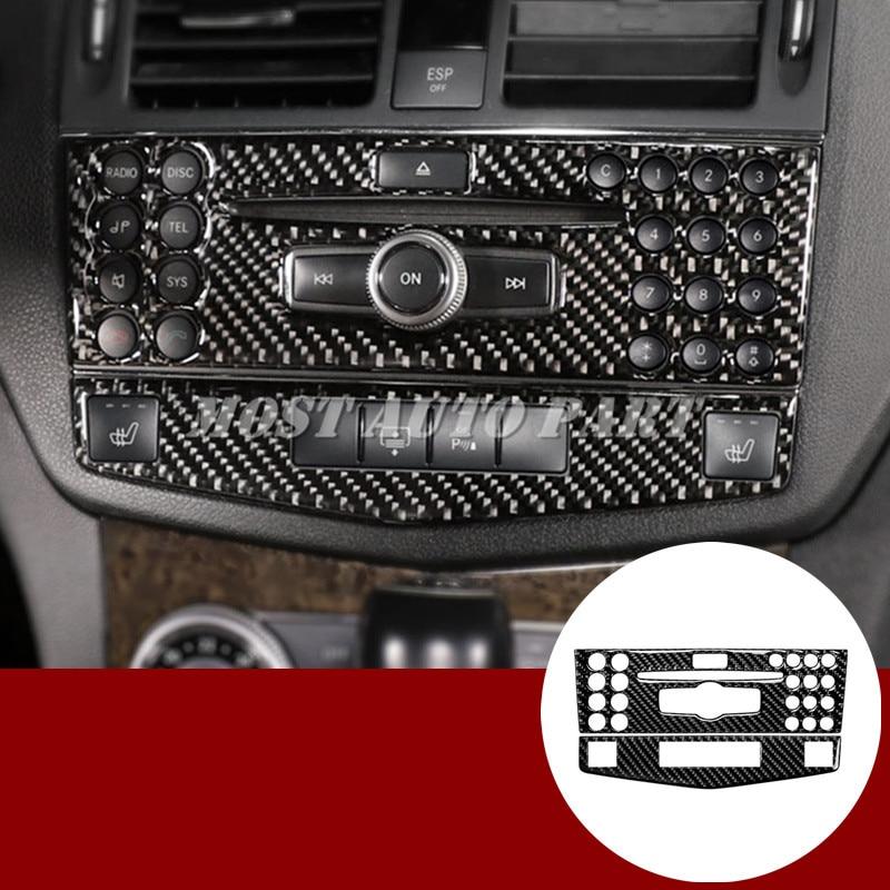 Carbon Fiber Center Console CD Panel Cover For Benz C Class W204 S204 2007 2010 2pcs