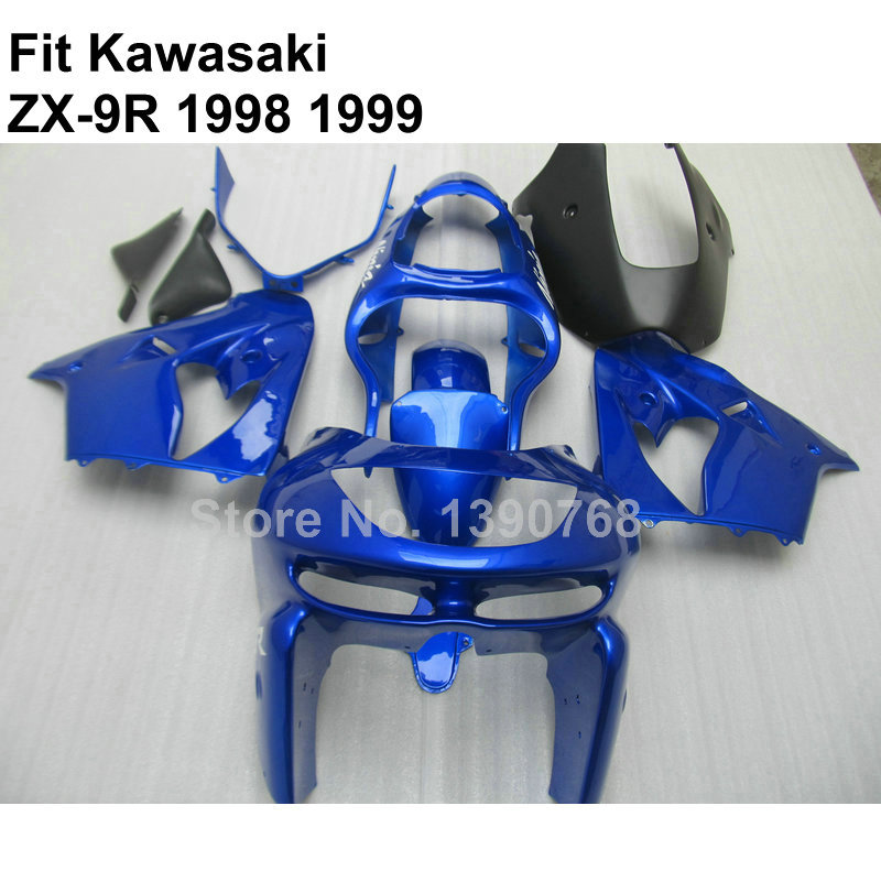 Top quality ABS for bodywork Kawasaki 98 99 zx9r fairings glossy blue black 1998 1999 Ninja