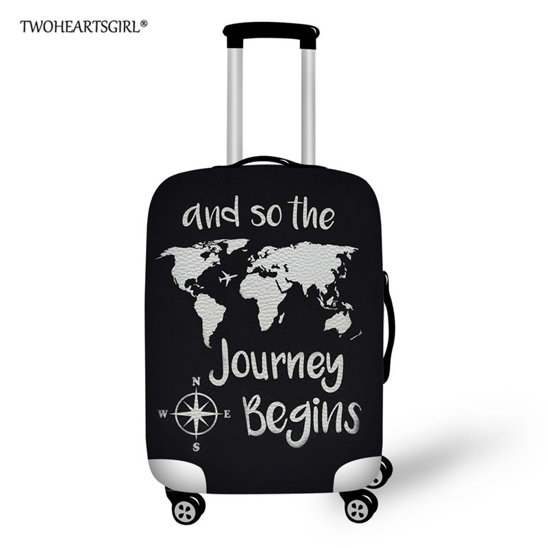Twoheartsgirl Black Map Custom Travel Luggage Cover Elastic Waterproof Suitcase Cover 18/20/22/24/26/28 Travel Accessories