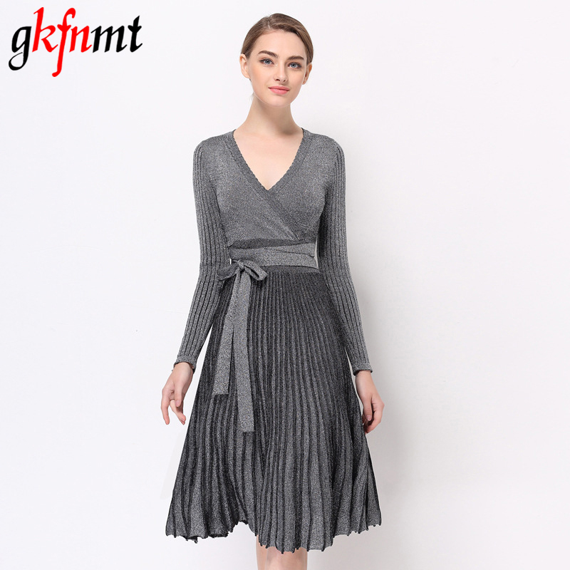 Gkfnmt 2017 Women Dress Autumn Pleated Large Hem V Collar High Waist Lace Up Shiner Knitted