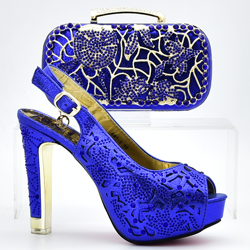 New Arrival Royal blue African Shoes And Bag Set Italy High Heels Italian Design Shoes With Matching Bag For party shoes high quality african shoes and bag set women high heels royal blue italian shoes with hangbag for party hhy1 27