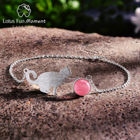 Lotus Fun Moment Real 925 Silver Natural Stone 2018 Bracelet Fashion Jewelry cute Cat Bracelets for Women dropshipping wholesale