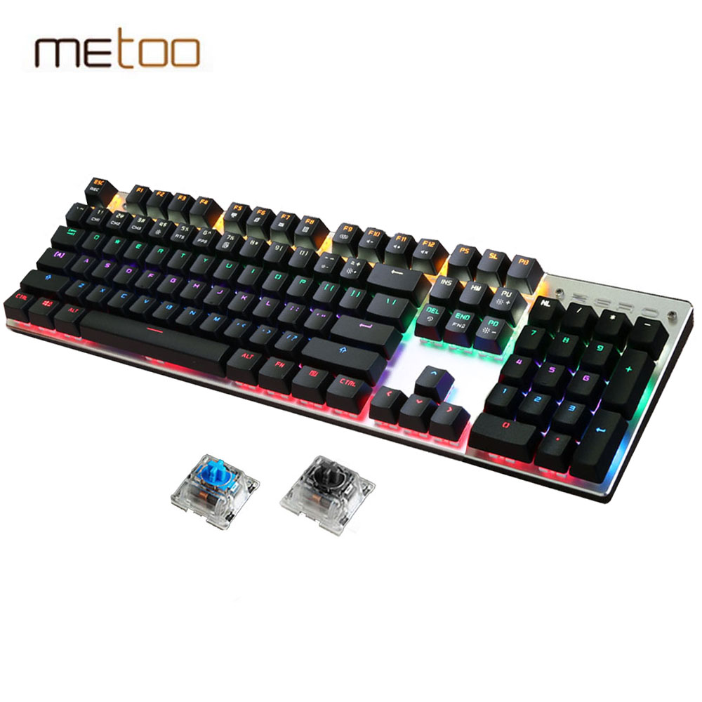ZERO Mechanical Keyboard 87/104 keys Blue Switch Pro Gaming Keyboards for Tablet Desktop Russian Keyboard Stickers motorspeed bluetooth usb wired mechanical keyboard 87 keys real rgb backlight blue switch for laptop desktop for gamer computer