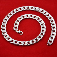 14mm Mens Boys Chain Flat Cut Curb Cuban Necklace White Gold Filled Necklace Fashion Jewelry