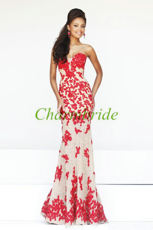 Long nude prom dresses with red lace,elegant women dresses for ...