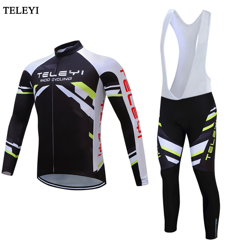 TELEYI 2017 Long Sleeve Cycling Jersey Cycle Clothing Sportswear Mens Outdoor Sports Jersey bib pants Quk Dry Riding Clothes