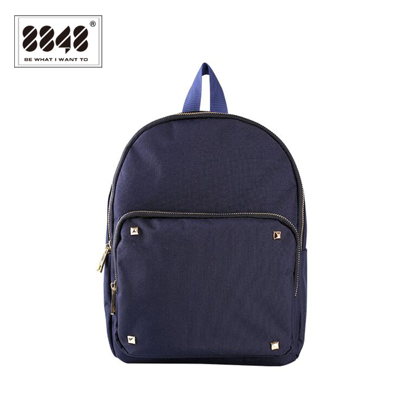 Women s Backpack 8848 Brand Backpacks Fashion Rivet Decoration Solid School Student Backpack Waterproof Oxford Soft
