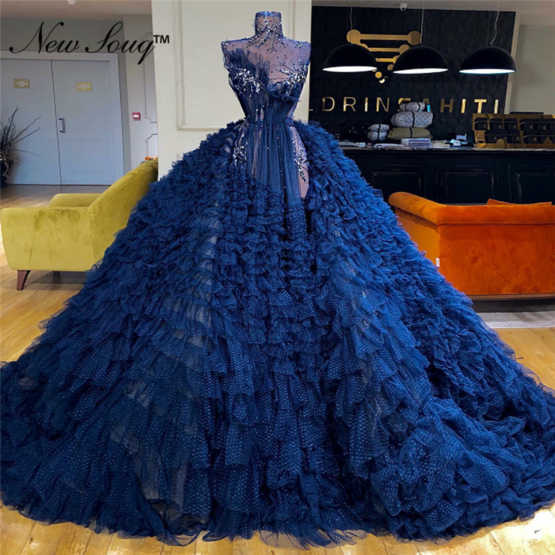 New Arrival Blue Tiered Tulle Ball Gown   Evening     Dress   Prom   Dresses   2019 Couture Celebrity Pary Gowns Arabic Dubai Robe De Soiree