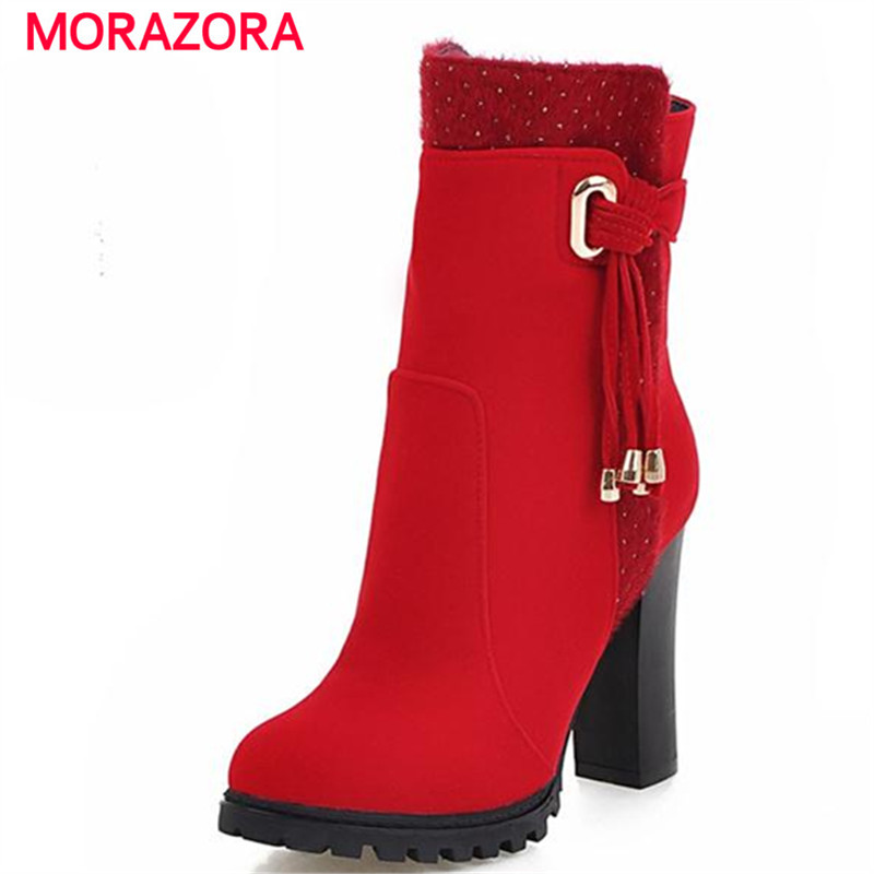 ФОТО MORAZORA High heels boots office lady autumn winter flock suede boots zip size 34-43 ankle boots party shoes elegant