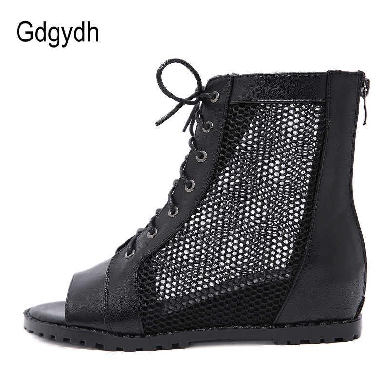 Gdgydh Yaz Ayakkabı Kadın Siyah Yükseklik Artan Peep Toe Ayakkabı Kadın Botları Yaz Örgü Roma Tarzı 2019 Drop Shipping