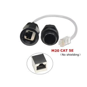 Image 4 - CAT5E RJ45 Wasserdichte Drüse Stecker Ethernet LAN Schwarz IP68 Schutz M20 CAT 5E RJ 45 männlich zu weiblich AP außen kabel