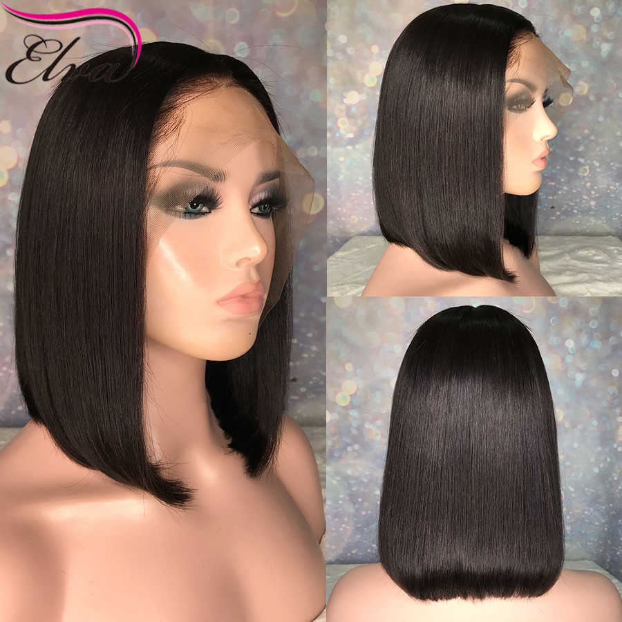 """Brazilian Full Lace Wig Short Human Hair Wigs For Black Women Remy Hair Straight Bob Wig Pre Plucked With Baby Hair Elva 8""""-14"""""""