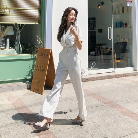 Office Ladies Notched Collar Short Sleeve Sashes Women Jumpsuit Elegant Work Business Wide Leg Pant White Jumpsuits Female 2019 Lahore